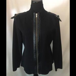 INC Black knit zip up sweater size large petite